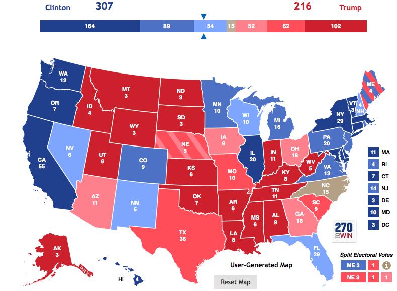 2016 Electoral College Tracking Prediction