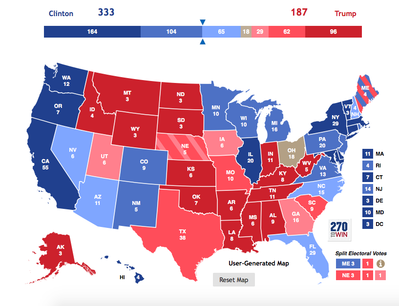 Electoral College Update: Clinton Maintains Comfortable Lead